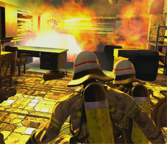 Firefighters simulation, extended reality environment for industrial traning applications